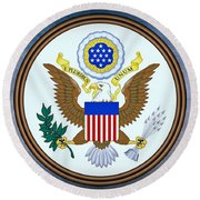 The Great Seal Of The United States  Round Beach Towel