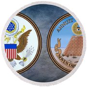 The Great Seal Of The United States Obverse And Reverse Round Beach Towel