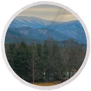 The Great Smoky Mountains From Cades Cove Round Beach Towel