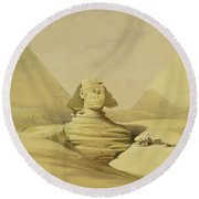 The Great Sphinx And The Pyramids Of Giza Round Beach Towel