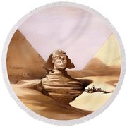 The Great Sphinx Round Beach Towel
