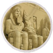 The Great Temple Of Abu Simbel Round Beach Towel