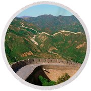 The Great Wall At Badaling In Beijing Round Beach Towel