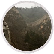The Great Wall Of China At Badaling - 7  Round Beach Towel