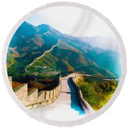 The Great Wall Of China Round Beach Towel