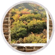 The Great Wall Window Round Beach Towel