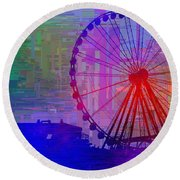 The Great  Wheel Cubed Round Beach Towel