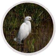The Great White Heron Round Beach Towel