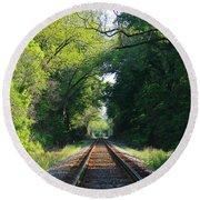 The Green Line Railroad Track Art Round Beach Towel