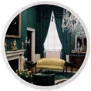 The Green Room In The White House Round Beach Towel