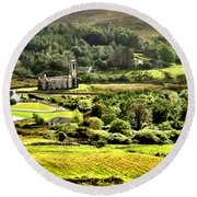 The Green Valley Of Poisoned Glen Round Beach Towel