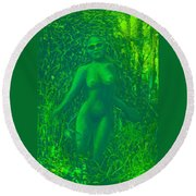 The Green Wood Nymph Calls Round Beach Towel