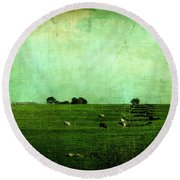 The Green Yonder Round Beach Towel by Trish Mistric