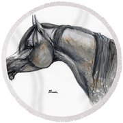 The Grey Arabian Horse 11 Round Beach Towel