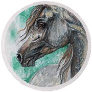 The Grey Arabian Horse 13 Round Beach Towel