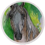 The Grey Arabian Horse 17 Round Beach Towel