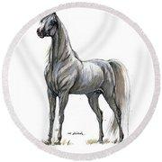 the Grey arabian horse 7 Round Beach Towel