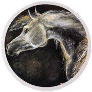 The Grey Arabian Horse 9 Round Beach Towel