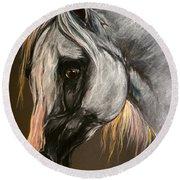 The Grey Arabian Horse Round Beach Towel