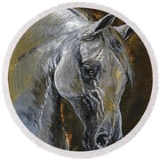 The Grey Arabian Horse Oil Painting Round Beach Towel