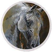The Grey Arabian Horse Oil Painting Round Beach Towel