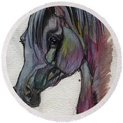 The Grey Horse Drawing 1 Round Beach Towel