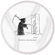 The Grim Reaper Is Seen Giving A Piece Of Paper Round Beach Towel by David Sipress