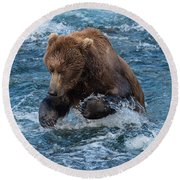 The Grizzly Plunge Round Beach Towel