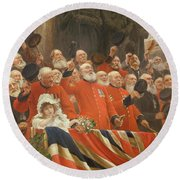 The Guards Cheer, 1898 Round Beach Towel