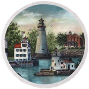 The Guiding Lights Of Ohio Round Beach Towel