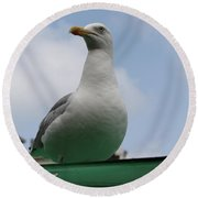 The Gull On The Roof Round Beach Towel
