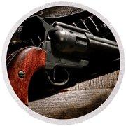 The Gun That Won The West Round Beach Towel