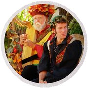 The Gypsy And The Minstrel Round Beach Towel