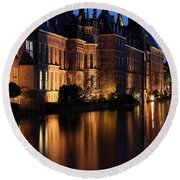 The Hague By Night Round Beach Towel