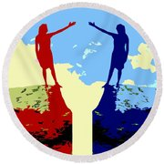 The Hand Of Friendship Round Beach Towel by Patrick J Murphy