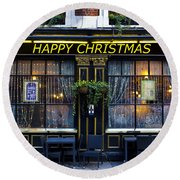 The Happy Christmas Pub Round Beach Towel