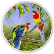 The Happy Couple - Eastern Rosellas  Round Beach Towel