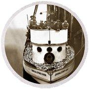 The Happy Crew Of The Fishing Boat  Geraldine- Ann Monterey California 1939 Round Beach Towel
