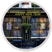 The Happy New Year Pub Round Beach Towel