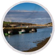 The Harbour At Hayle Cornwall Round Beach Towel