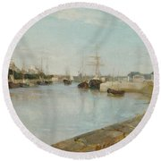 The Harbour At Lorient Round Beach Towel
