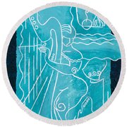 The Harp Player Round Beach Towel
