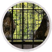 The Hawks From The Series The Imprint Of Man In Nature Round Beach Towel