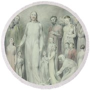 The Healing Of The Woman With An Issue Of Blood Round Beach Towel by William Blake