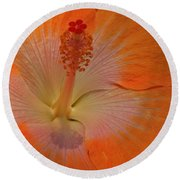The Heart Of A Hibiscus Round Beach Towel