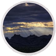 The Heavenly Light  Round Beach Towel
