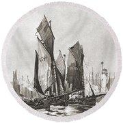 The Herring Fleet, Scarborough Round Beach Towel