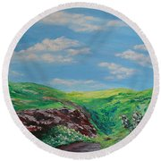 The Hills Are Alive Round Beach Towel