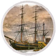 The Hms Bounty Round Beach Towel by Debra and Dave Vanderlaan