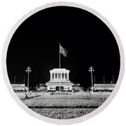 The Ho Chi Minh Mausoleum In Hanoi Round Beach Towel